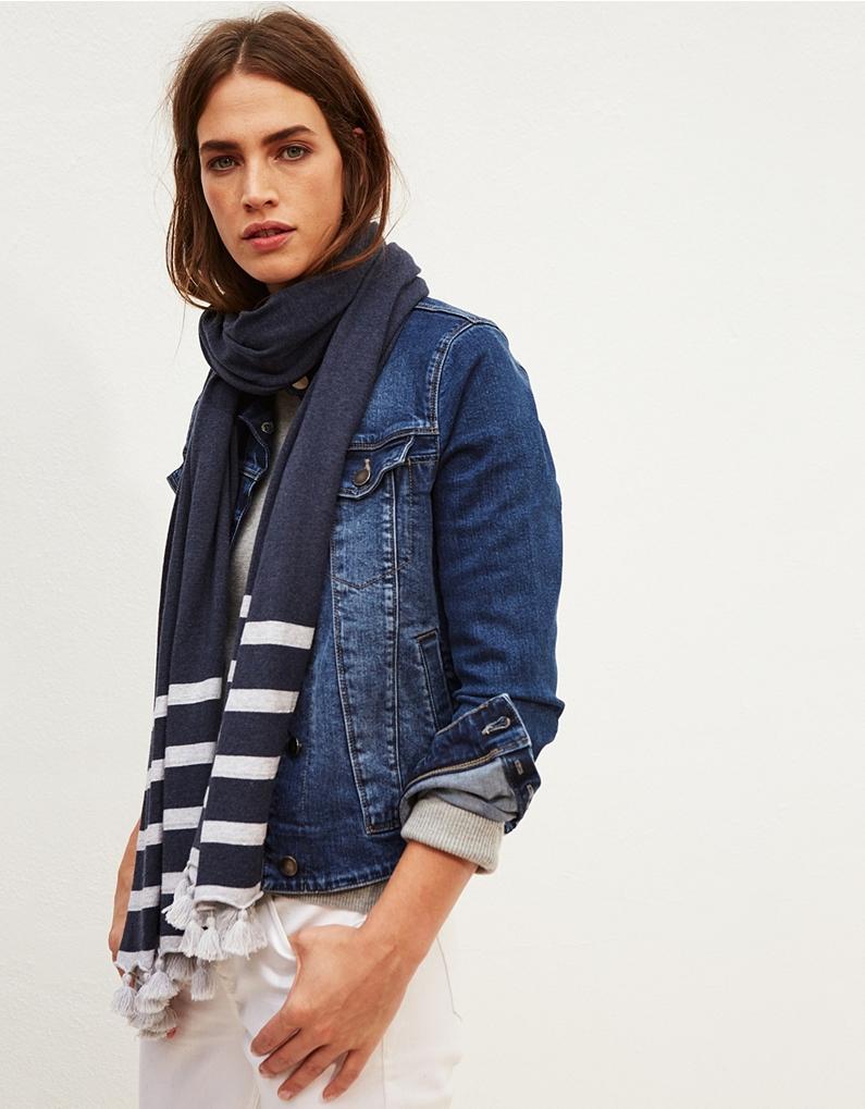 the white company cotton tassel stripe scarf