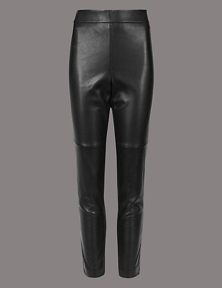 marks and spencer leather ponte high waist leggings