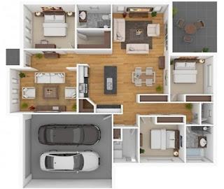Denah Rumah Minimalis Terbaru 1 Lantai 3 Kamar Tidur Terbaru
