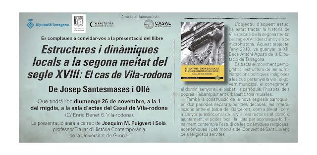 Esguard de Dona - Presentació del Llibre - Estructures i dinàmiques locals a la segona meitat del segle XVIII - El cas de Vila-rodona - de Josep Santesmases