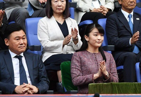 Princess Mako watched the men's singles final between Novak Djokovic of Serbia and John Millman of Australia at the Rakuten