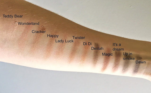 Swatches of W7 Lightly Toasted Eyeshadow Palette
