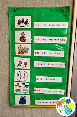 Keeping Organized with Two Half Day Classes. Color coded daily schedule. | Apples to Applique
