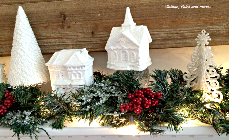 Vintage, Paint and more... dollar store village painted white for a snow themed mantel
