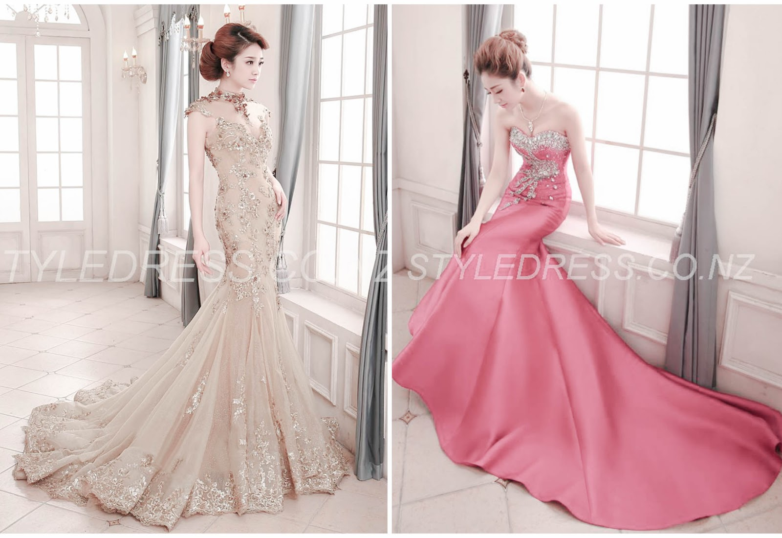 Vintage High Neck Mermaid Appliques Backless Lace-up Floor-Length Evening Dress