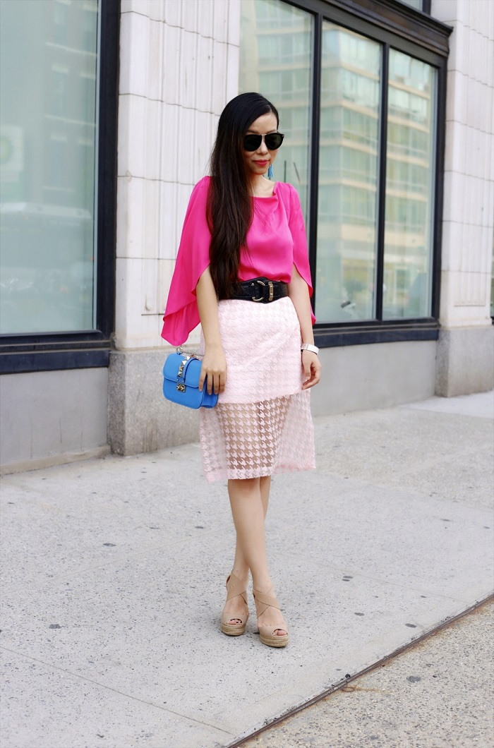 milly butterfly sleeve silk blouse, chicwich sheer pink pencil skirt, valentino lock bag, tory burch wedges, karen walker harvest sunglasses, summer bright outfit, fashion blog, lookbook, summer street style, new york fashion blog, baublebar tassel earrings