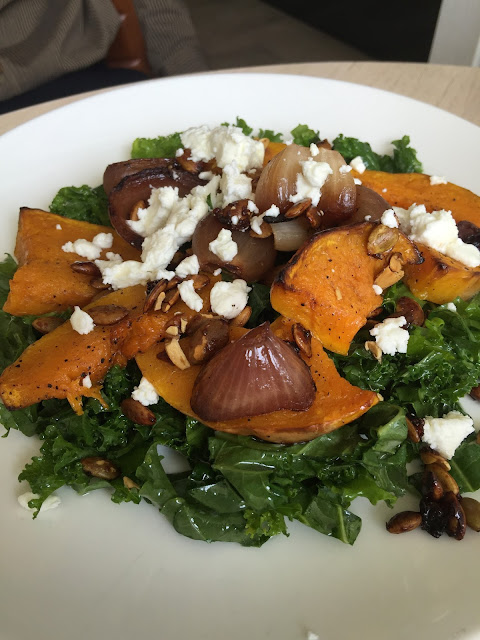 best salad singapore  Roast Pumpkin with Kale, Marinated Goat Cheese, Onion & Seeds