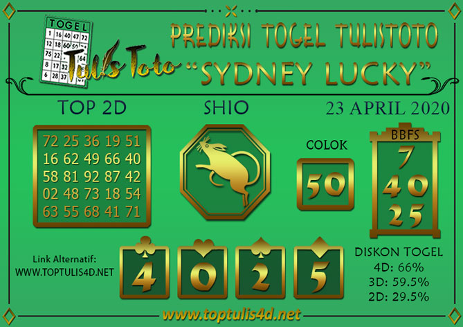 Prediksi Togel SYDNEY LUCKY TODAY TULISTOTO 23 APRIL 2020