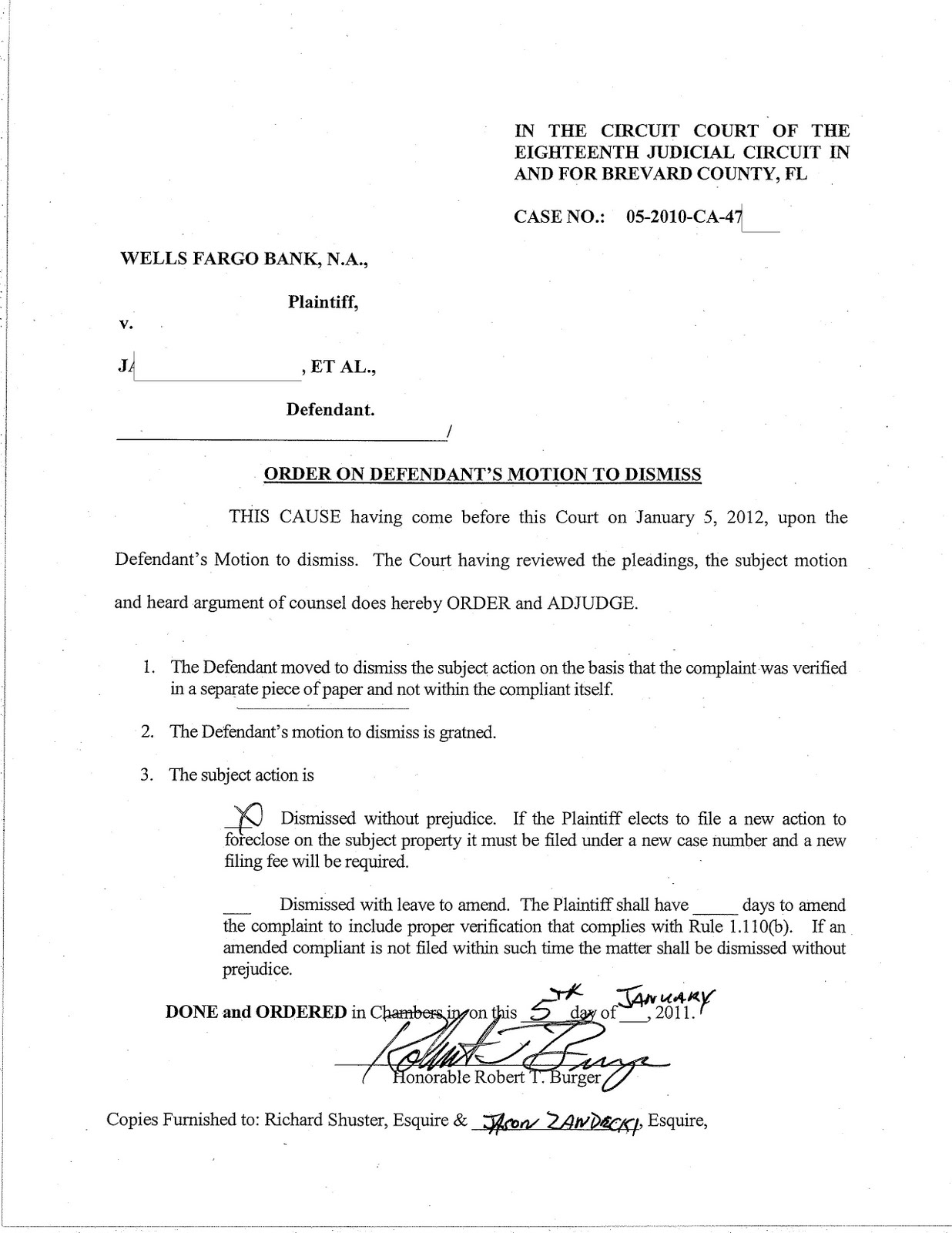 Florida foreclosure defense blog 2012 for Motion to dismiss with prejudice template