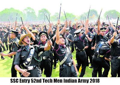 SSC Entry 52nd Tech Men Indian Army Recruitment 2018