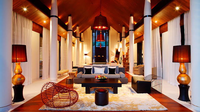 Photo of modern thai furniture in the living room of modern villa in Phuket