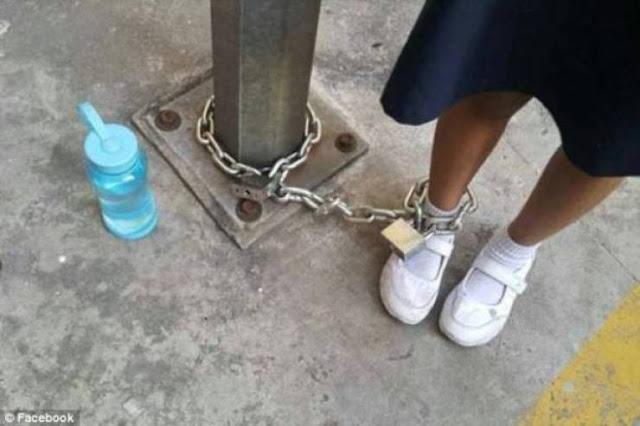 عاقبت ابنتها بربط قدمها بعمود في موقف للسيارات! ماذا فعلت لتنال هذا العقاب !!