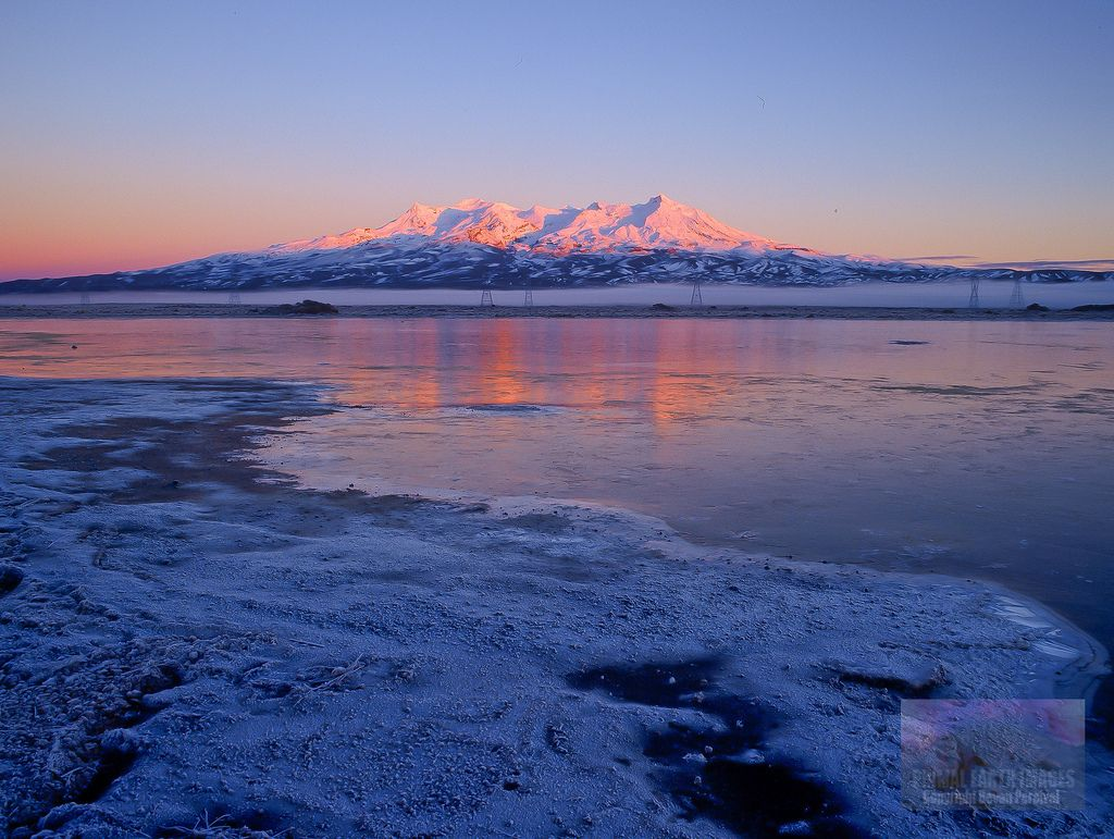 Frozen Lake Mount Ruapehu Sunrise
