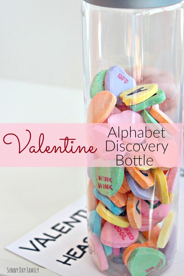 Valentine Alphabet Discovery Bottle! Help preschoolers learn and practice the alphabet with this fun valentine activity. And it's edible too!