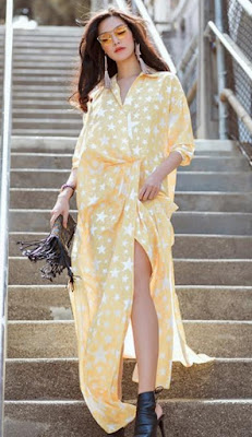 Thuy Dung with stylish outfits in United States