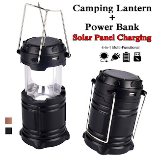 Solar Camping LED Lamps 2 in 1 dengan Powerbank