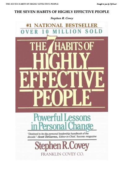 The 7 Habits Of Highly Effectiv People PDF Book Free Download
