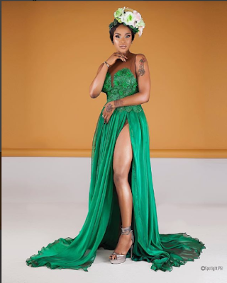 Uche Ogbodo elegance in stunning green outfit