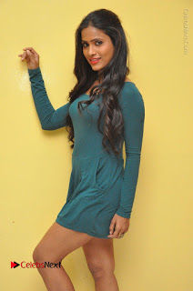 Telugu Actress Prasanthi Stills in Green Short Dress at Swachh Hyderabad Cricket Press Meet  0052.JPG