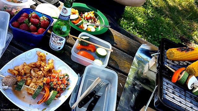 Summer BBQ vegetarian food in Oslo, Norway