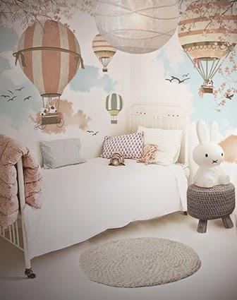 little hands little hands wallpaper mural balloon ride ii. Black Bedroom Furniture Sets. Home Design Ideas