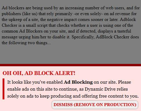 Aggressive Adblock Notifier Bottom