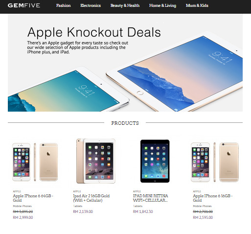 Gold color Apple iPhone 6 (64GB) selling at RM2,999 in GEMFIVE with one year Apple warranty