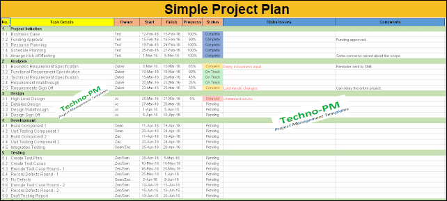 Simple Project Plan Template Free Download Project