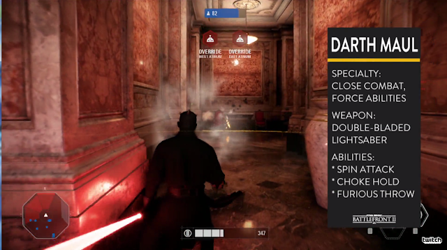 Star Wars Battlefront II Darth Maul characteristics stats abilities specialty weapons multiplayer co-op