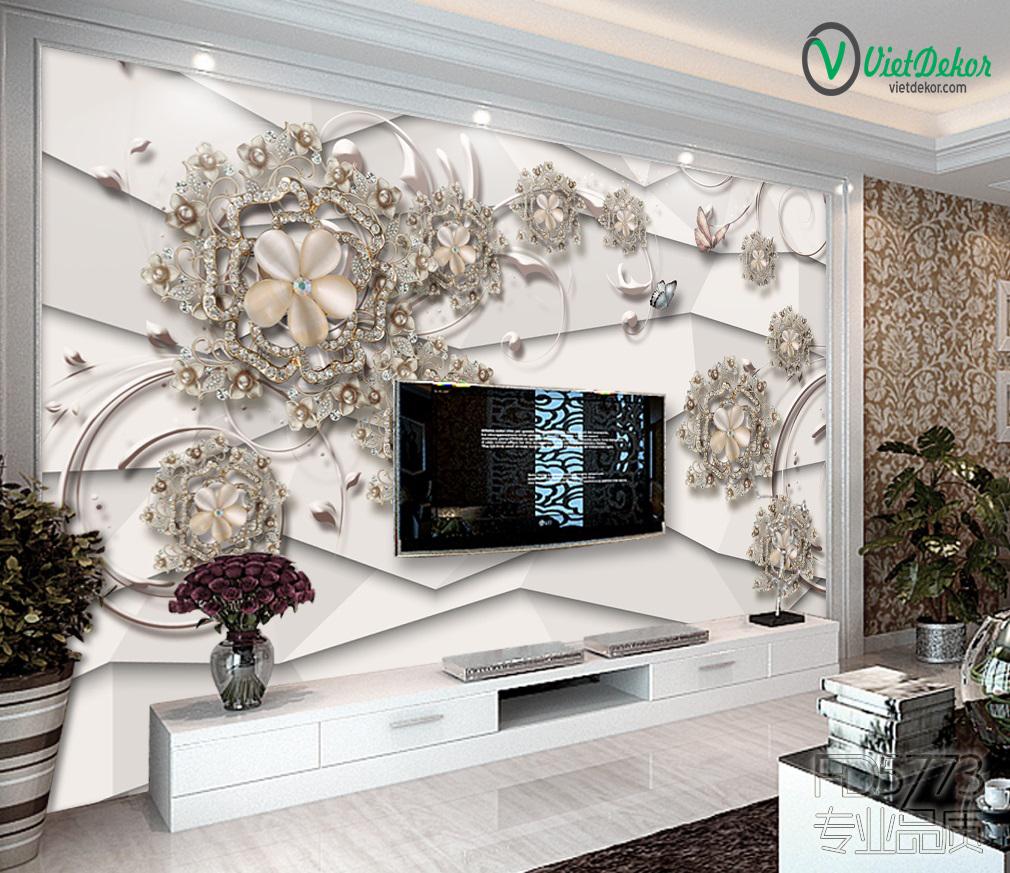 Tranh 3d dán tường hoa trang sức trang trí phòng ngủ