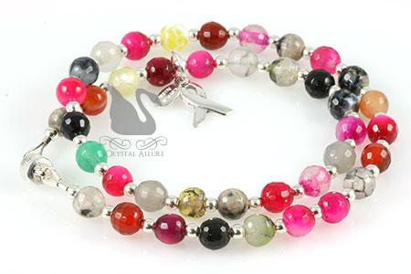 Multi-Gemstone Cancer Awareness Wrap Bracelet (BA214)