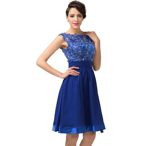 Dress Pesta Brokat Pendek Warna Biru Terbaru