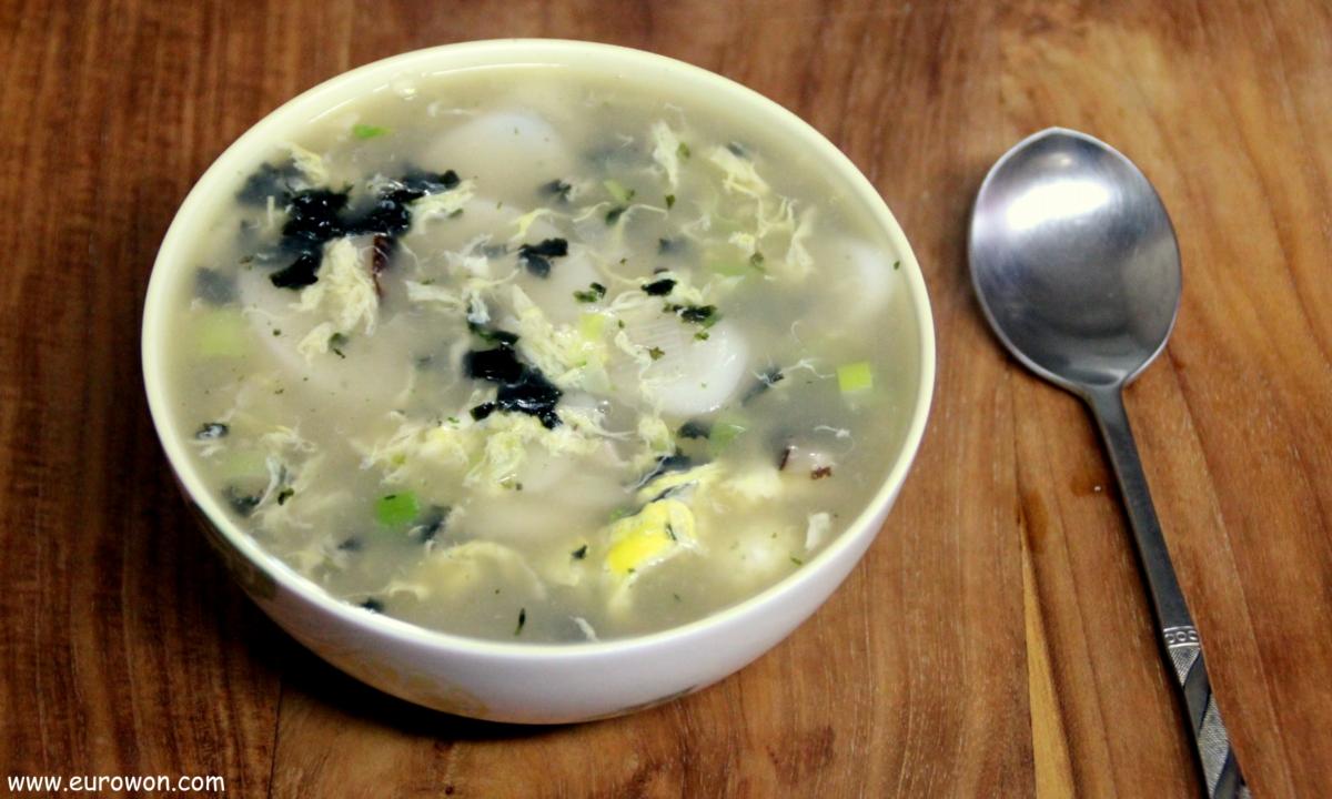 Cuenco de tteokguk sopa de pasta de arroz