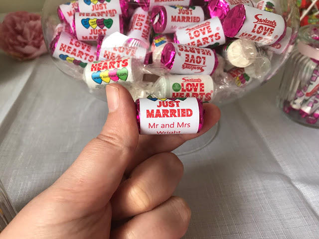 mini rolls of love hearts personalised for wedding