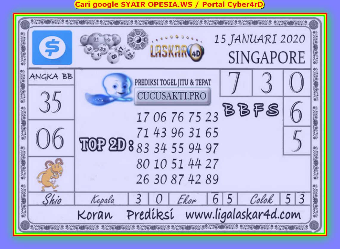 Kode syair Singapore Rabu 15 Januari 2020 147