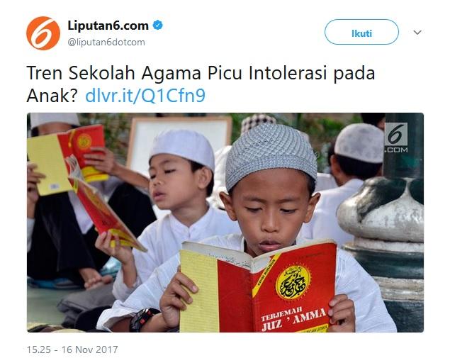 tren sekolah agama picu intoleransi pada anak?