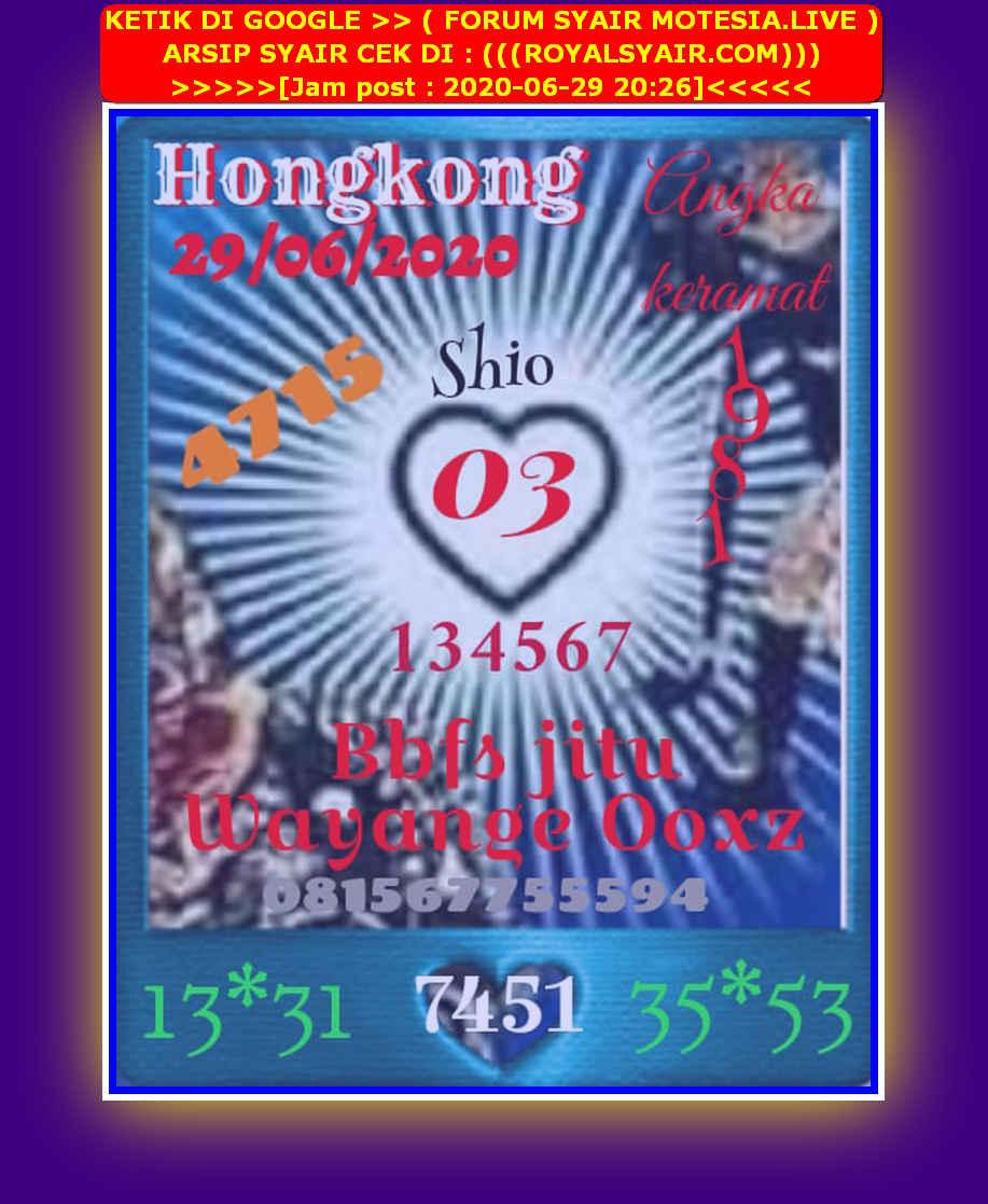 Kode syair Hongkong Senin 29 Juni 2020 17