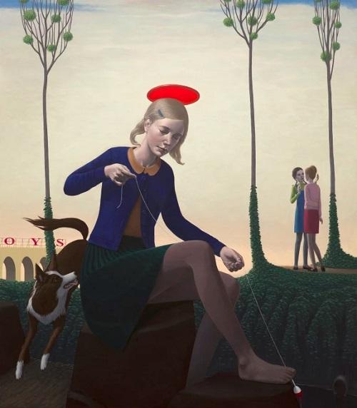 Obra de arte, pintura contemporánea: mujer juega en el parque con su mascota. Cool picture.