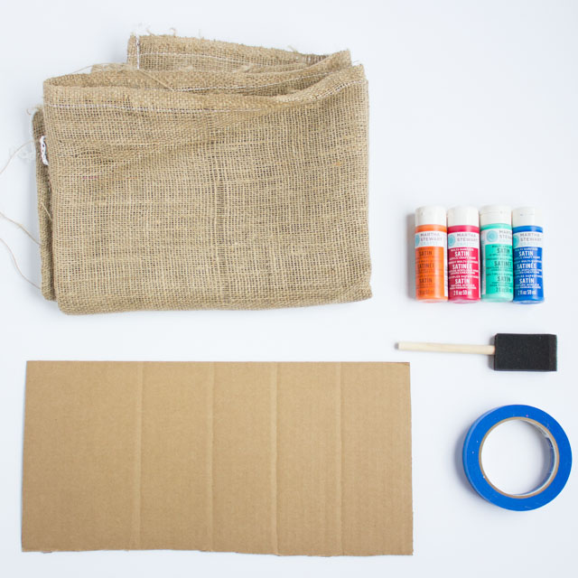 Supplies for DIY painted potato sacks