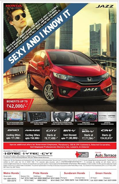 Honda Jazz car Festival benefits | Dussehra Navaratri offers | September 2017