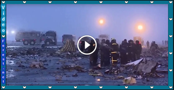 Aerials Footage Show Aftermath of Flydubai Boeing 737- 800 Crash in Russian Airport