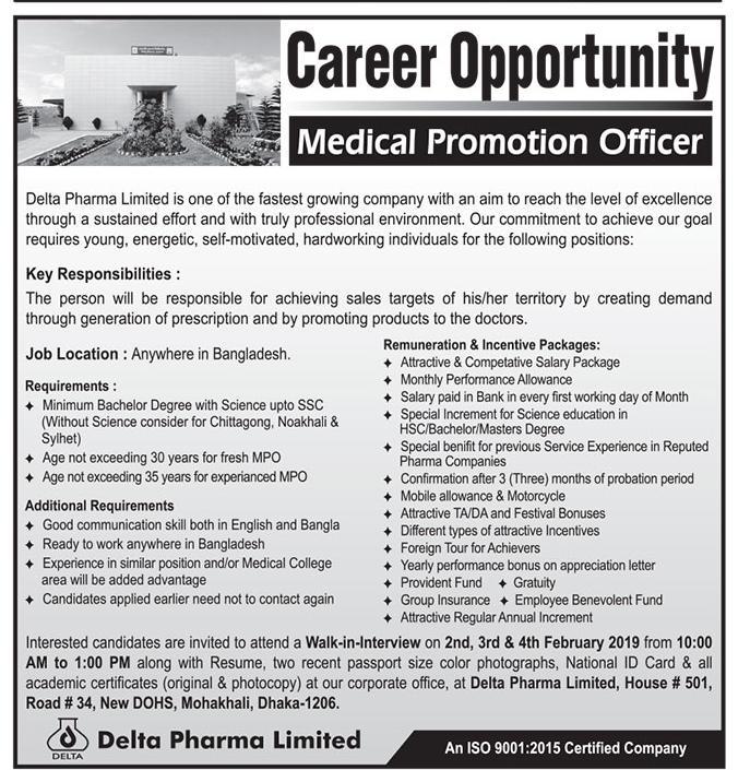 Delta Pharma Job Circular 2019