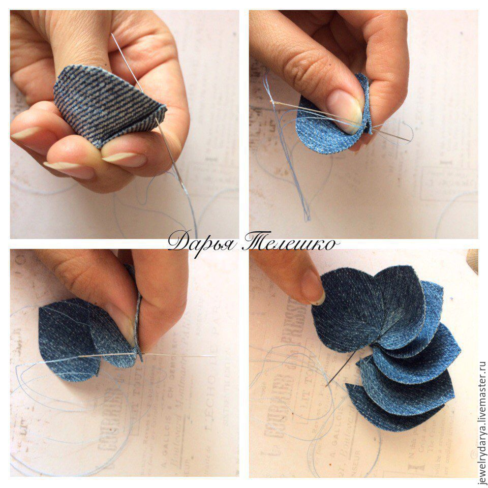 Create a denim brooch - a flower with a Swarovski crystal