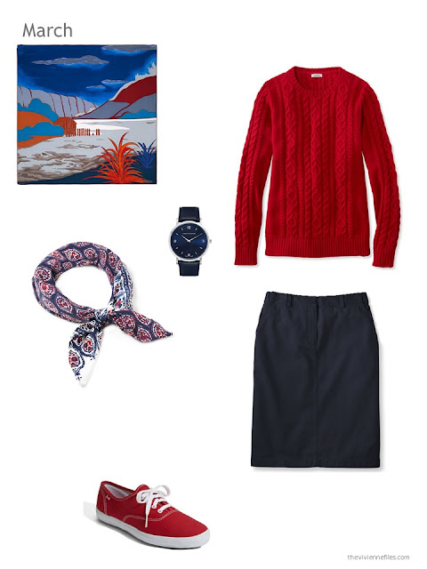 red and navy skirt outfit with scarf, watch and canvas shoes