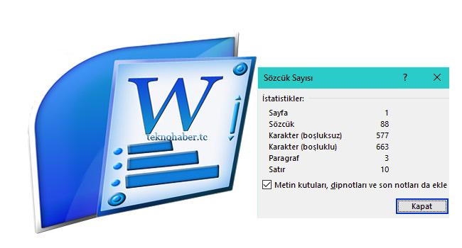 Microsoft Office Word 'de Sözcuk sayımı
