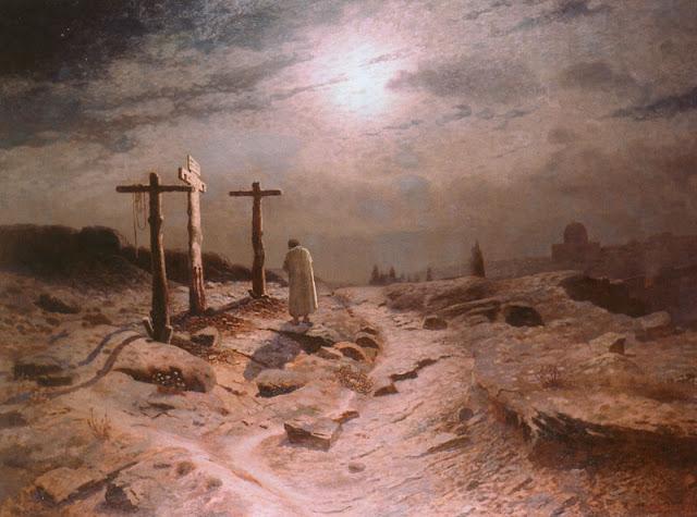 Η Μετάνοια του Ιούδα, του K. Bashinjaghian , 1913 ή 1918.  Σε ένα σχεδόν άδειο τοπίο χωρίς καθόλου βλάστηση, ο Ιούδας μπροστά στους έρημους σταυρούς μόνος. Η μετάνοια πλέον δεν είναι δυνατή. Ο αθώος Ιησούς βρίσκεται στον τάφο. Οι σκυφτοί ώμοι και το σκυμμένο κεφάλι προδίδουν το τρομαχτικό και αβάσταχτο βάρος των τύψεων και της αυτομεμψίας που θα τον οδηγήσει στην αυτοκτονία.