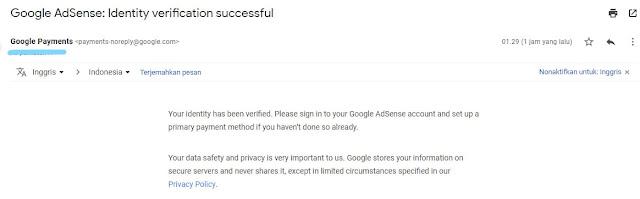 Email berhasil verif ID