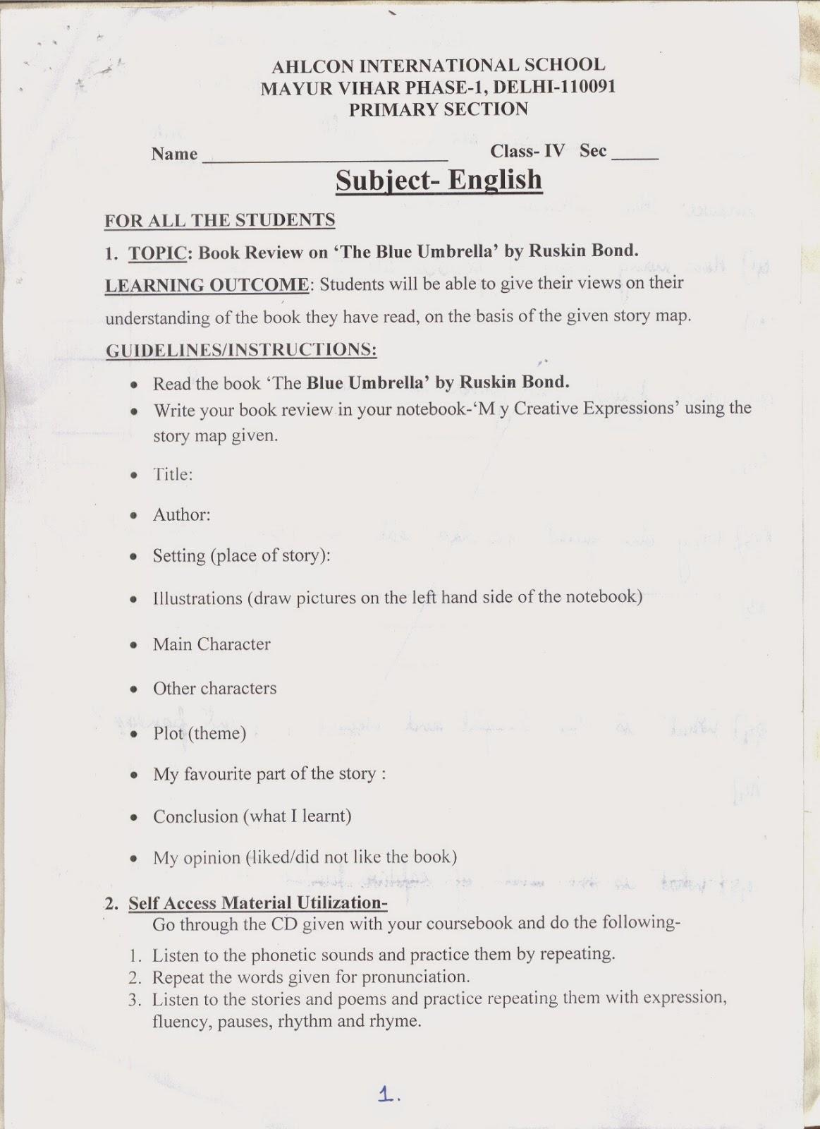 ahlcon international school holiday homework class 6