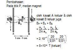 Pembahasan soal induksi magnetik dua kawa sejajar