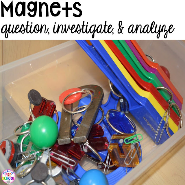 Magnets in the science center (with freebies) in your early childhood classroom.